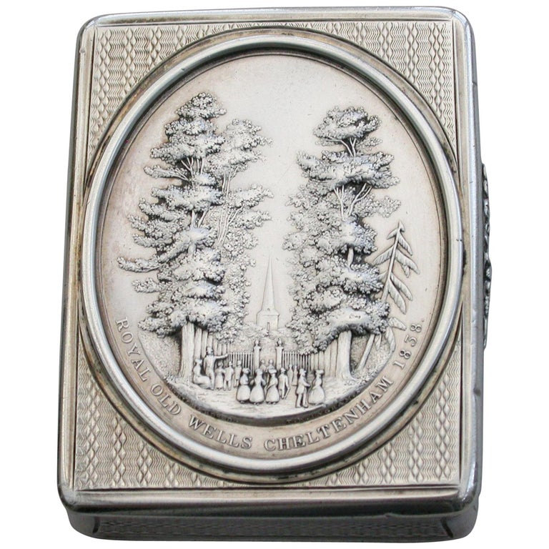 Victorian Silver Snuff Box 'Royal Old Wells Cheltenham' By Nathaniel Mills 1838 For Sale