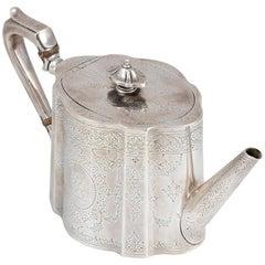 Victorian Silver Teapot by E. Walter and J. Barnard, England, 1871