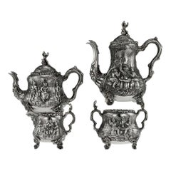 Victorian Silver Teniers Tea and Coffee Set, D & C Houle, circa 1869
