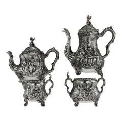 Victorian Silver Teniers Tea and Coffee Set, D & C Houle, circa 1869