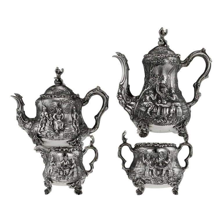 Victorian Silver Teniers Tea and Coffee Set, D & C Houle, circa 1869 For Sale
