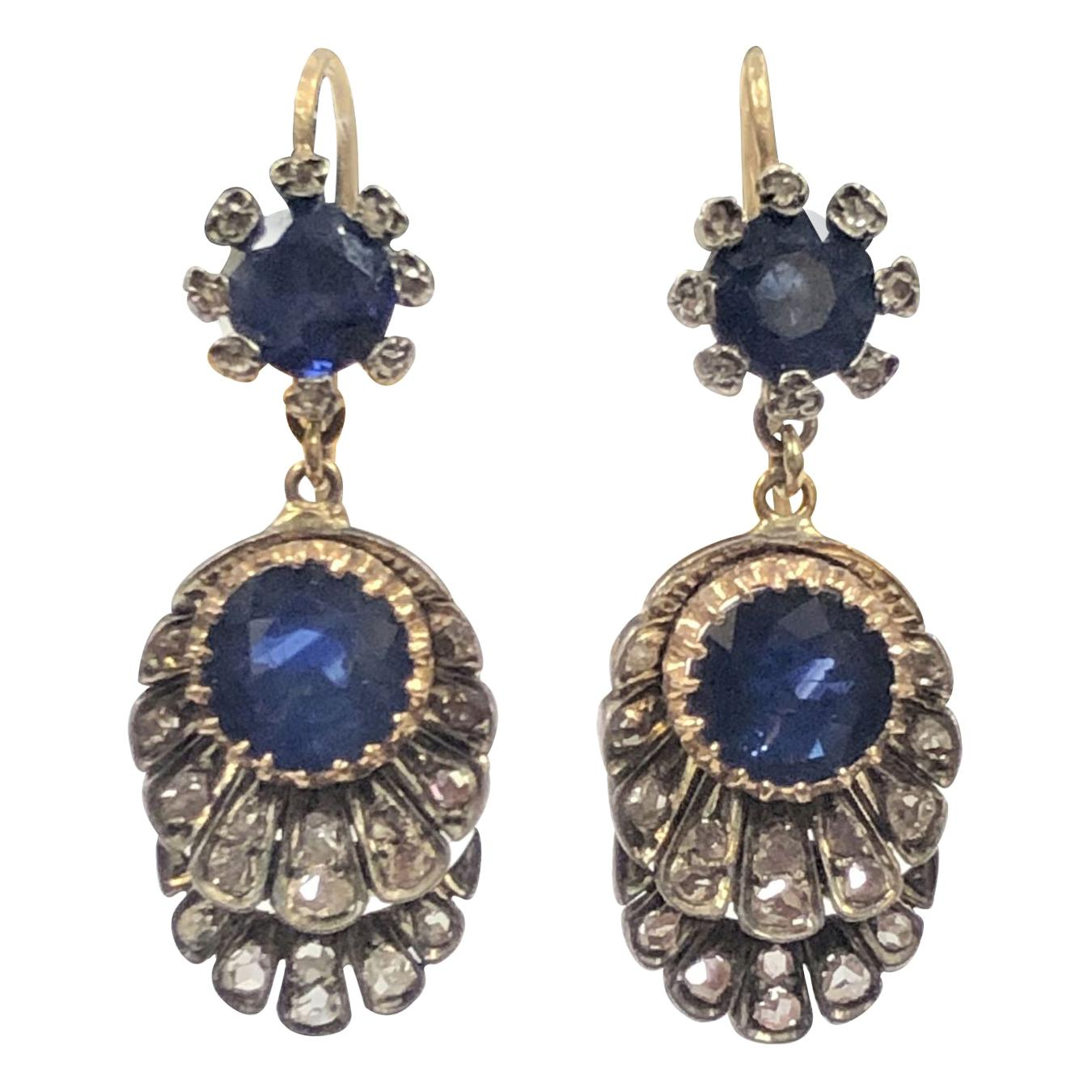 Victorian Silver Top Gold Backed Diamond and Sapphire Dangle Earrings