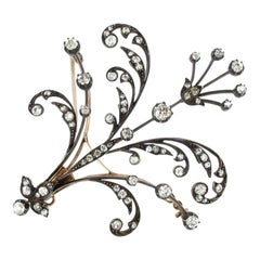 Victorian Silver-Topped Gold and Diamond Brooch