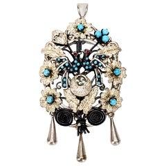 Victorian Silver Turquoise Nesting Love Birds Locket Pin / Pendant