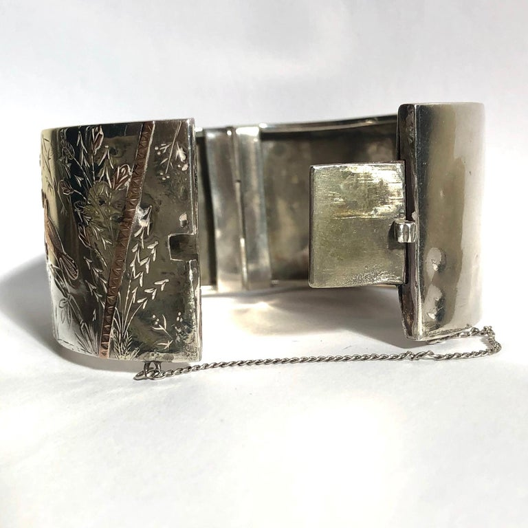 Victorian Silver, Yellow Gold and Rose Gold Bangle In Good Condition For Sale In Chipping Campden, GB