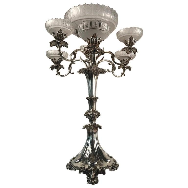 Victorian Silvered Bronze Centrepiece/ Epergne For Sale
