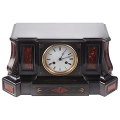 Victorian Slate & Rouge Marble Architectural Mantle Clock