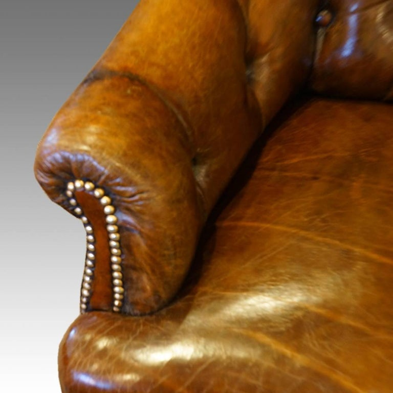 English Victorian Small Leather Library Sofa For