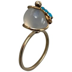 Victorian Snake Globe Ring Turquoise Moonstone Gold Antique