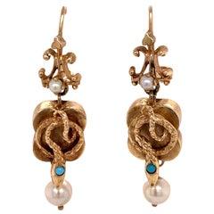 Victorian Snake Pearl Turrquoise 14 Karat Yellow Gold Drop Earrings Vintage