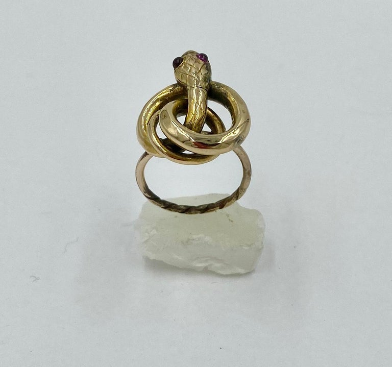 Women's Victorian Snake Ring Garnet Eyes Three Dimensional Gold Antique, circa 1860 For Sale