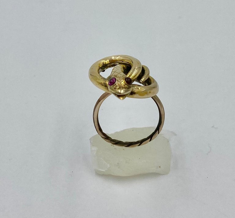 Victorian Snake Ring Garnet Eyes Three Dimensional Gold Antique, circa 1860 For Sale 1