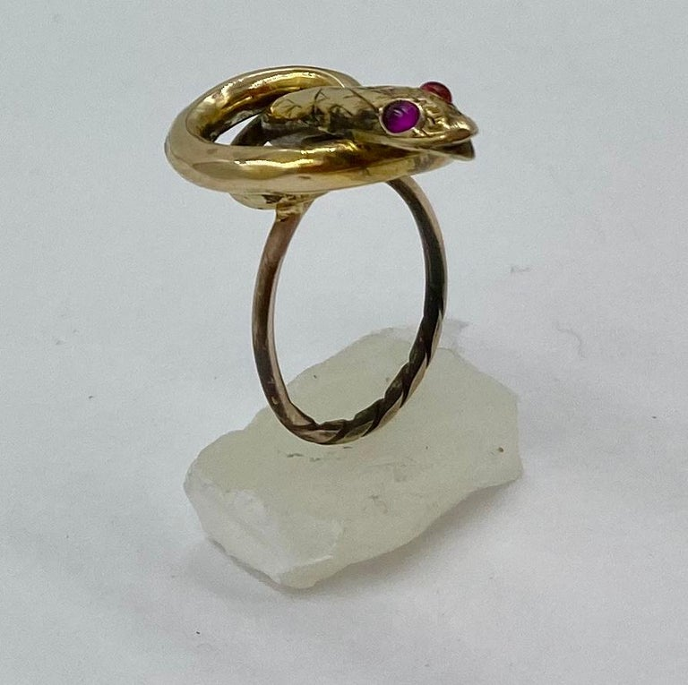 Victorian Snake Ring Garnet Eyes Three Dimensional Gold Antique, circa 1860 For Sale 2
