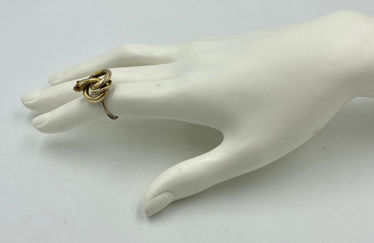 Victorian Snake Ring Garnet Eyes Three Dimensional Gold Antique, circa 1860 For Sale 3
