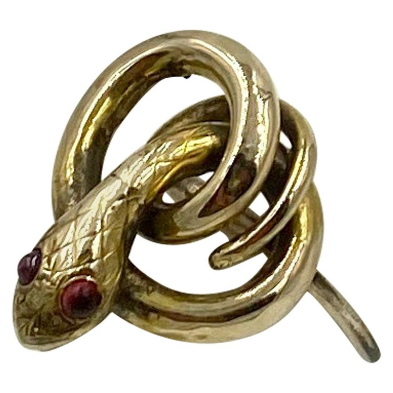 Victorian Snake Ring Garnet Eyes Three Dimensional Gold Antique, circa 1860 For Sale