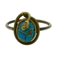 Victorian Snake Turquoise Scarab 14 Karat Gold Ring Egyptian Revival Antique