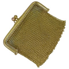 Victorian Solid 9 Carat Gold Ladies Coin Purse Chainmail Bag