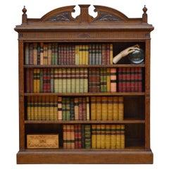 Victorian Solid Oak Open Bookcase