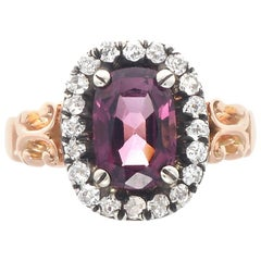 Victorian Spinel Diamond Gold Engagement Ring