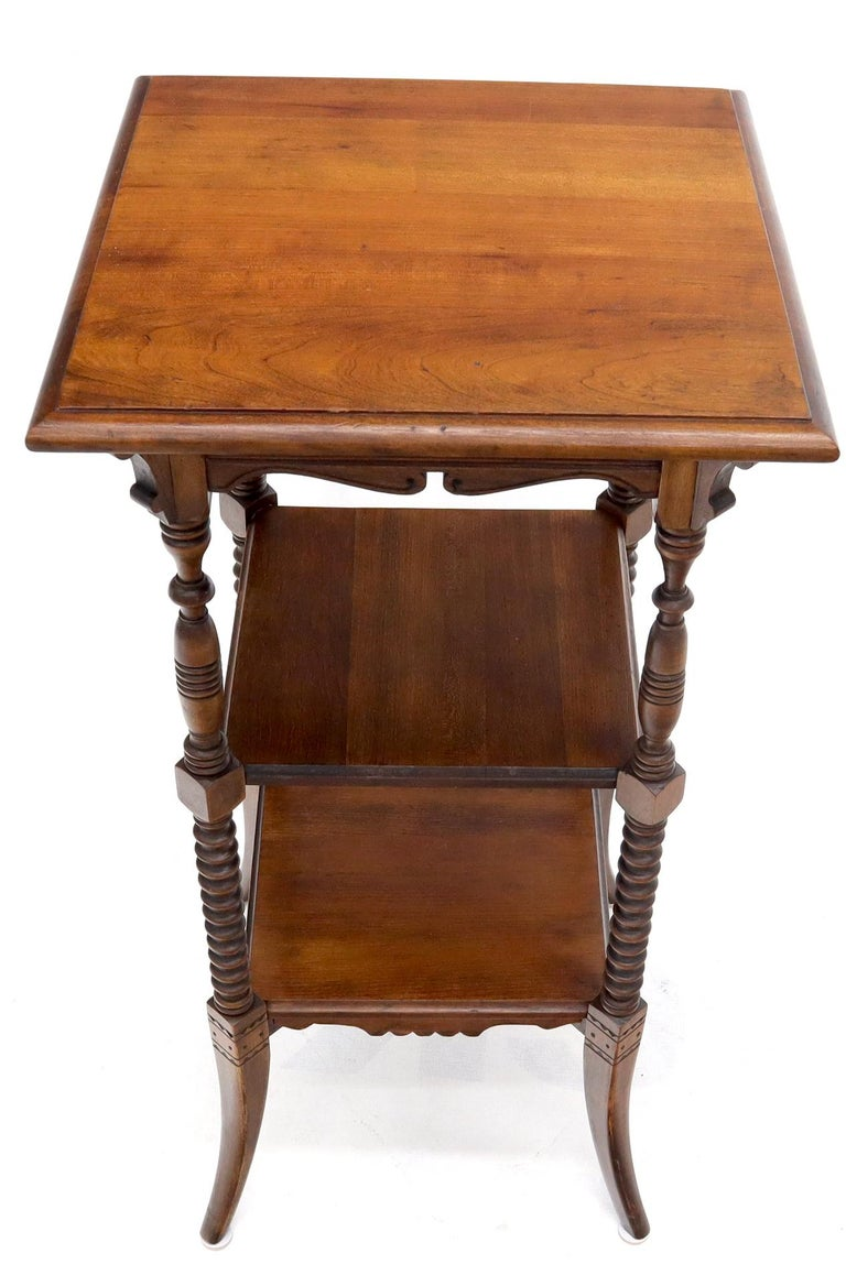 American Victorian Square Three-Tier Stand Corner Lamp Occasional Table Stand For Sale