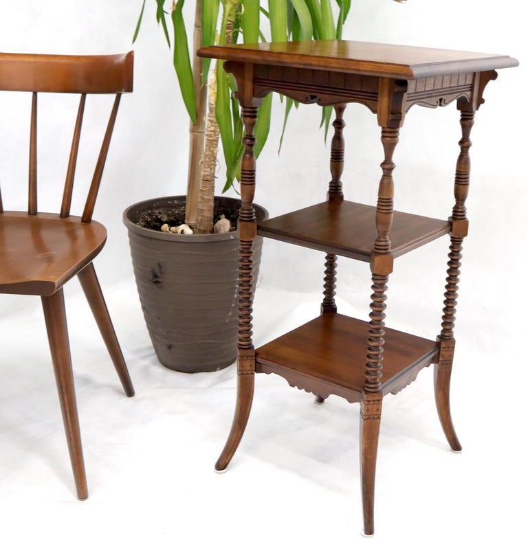 20th Century Victorian Square Three-Tier Stand Corner Lamp Occasional Table Stand For Sale