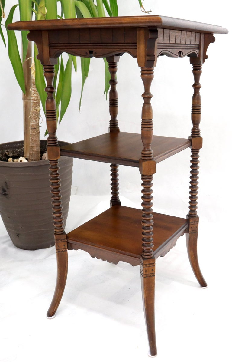 Walnut Victorian Square Three-Tier Stand Corner Lamp Occasional Table Stand For Sale