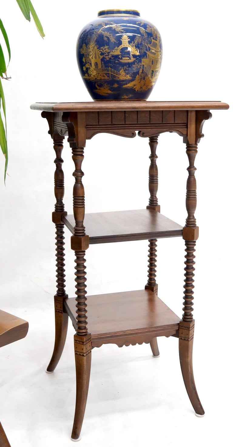 Victorian Square Three-Tier Stand Corner Lamp Occasional Table Stand For Sale 1