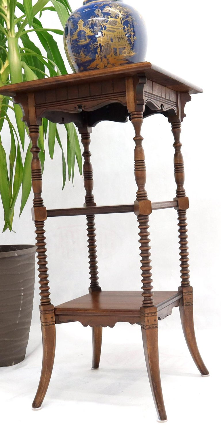 Victorian Square Three-Tier Stand Corner Lamp Occasional Table Stand For Sale 2