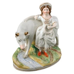 Victorian Staffordshire Cow & Dairy Maid, 19th Century