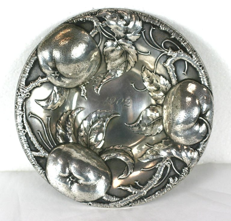 Victorian sterling dish by Alvin of high relief apples, branches and leaves. Amazing detail and quality. Monogrammed 1902. Wonderful gift.  6.5
