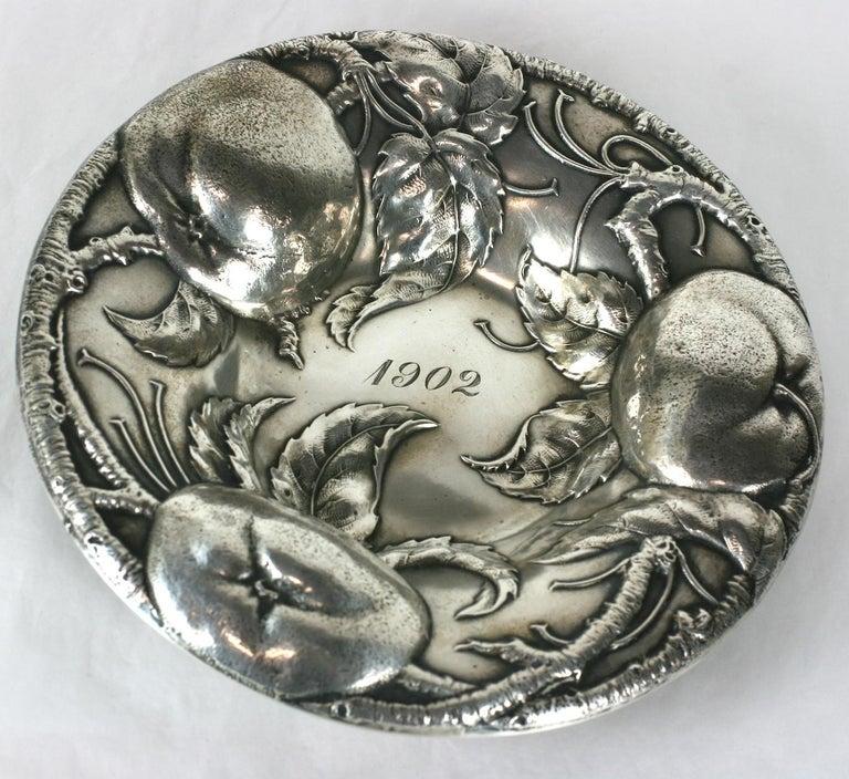 Women's or Men's Victorian Sterling Apple Motif Dish, Alvin For Sale