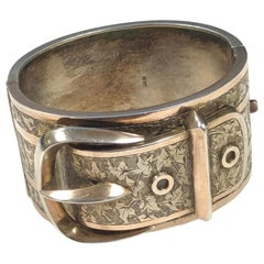 Victorian Sterling Large Buckle Bangle Bracelet