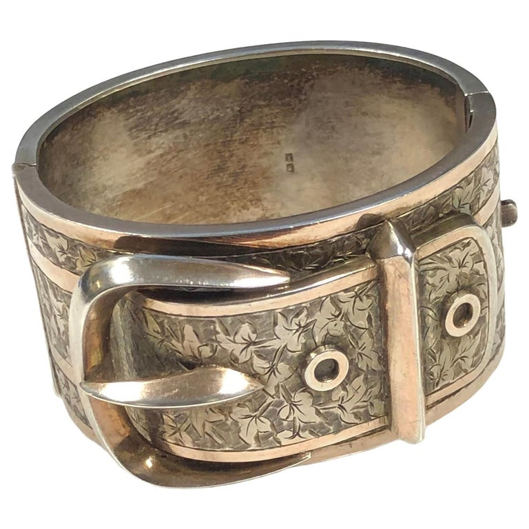 Victorian Sterling Large Buckle Bangle Bracelet For Sale