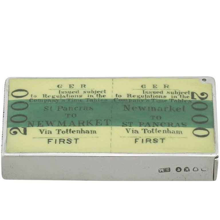 Victorian Sterling Silver and Enamel 'Ticket' Vesta Box, 1885