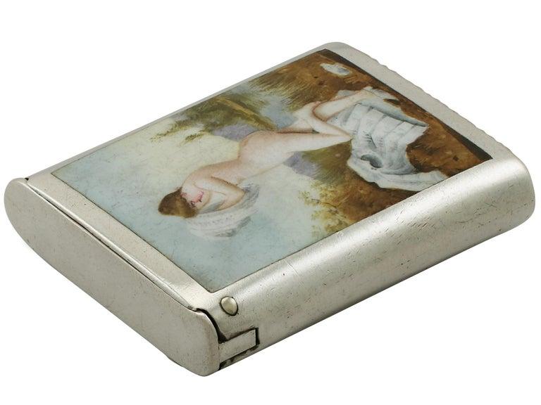 Late 19th Century Victorian Sterling Silver and Erotica Enamel Vesta Case For Sale