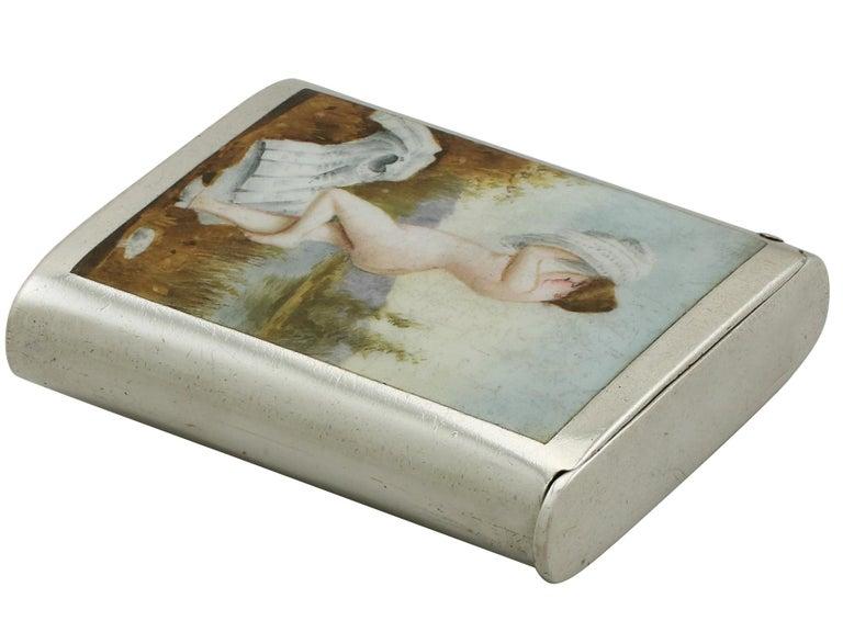 Victorian Sterling Silver and Erotica Enamel Vesta Case For Sale 1