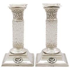 Viktorianische Sterlingsilber und Glas Kerzenständer