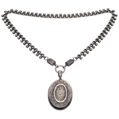 Victorian Sterling Silver Beaded Book Chain and 800 Silver Locket