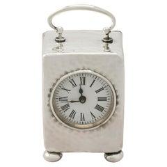 Victorian Sterling Silver Boudoir Clock by Henry Matthews