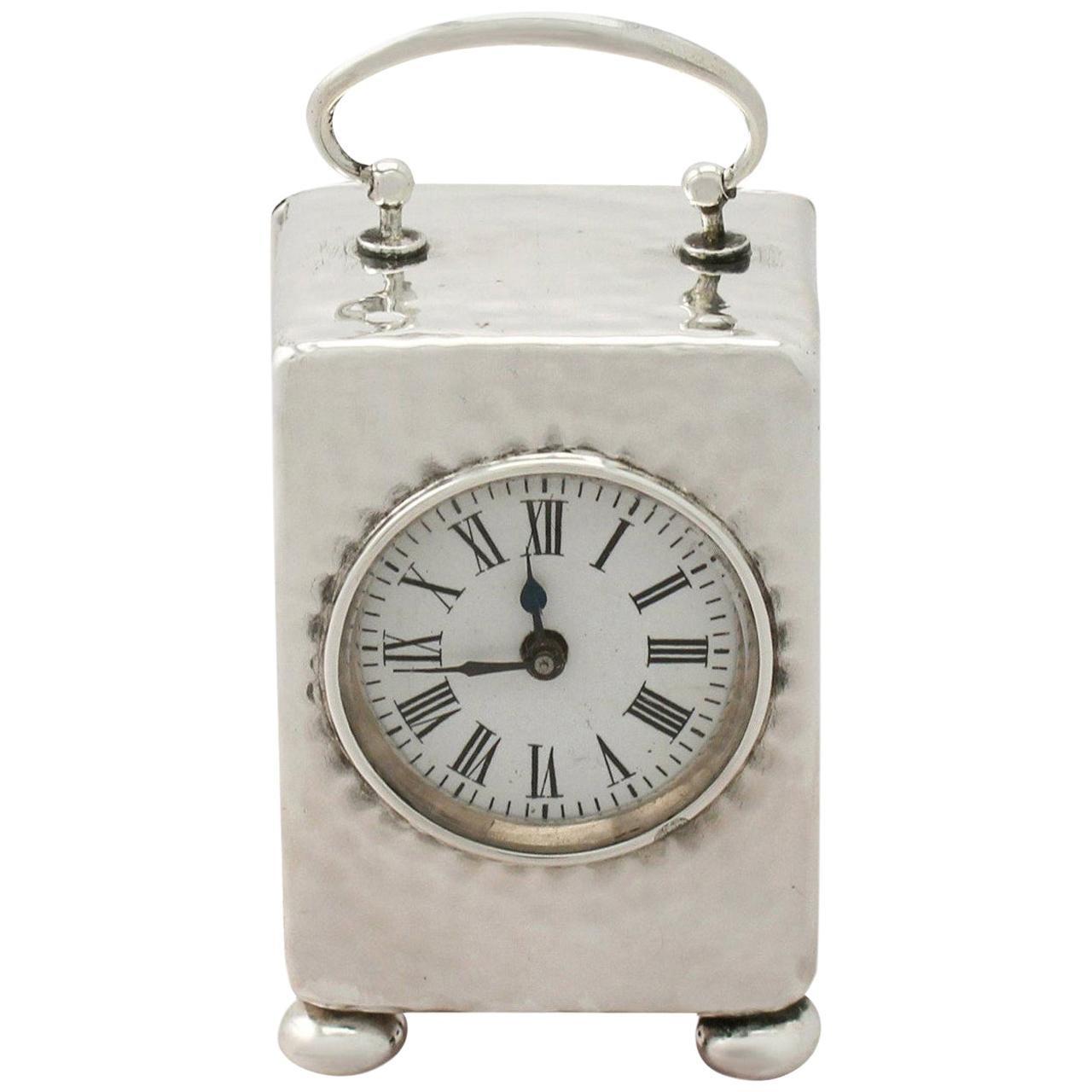 Victorian Sterling Silver Boudoir Clock