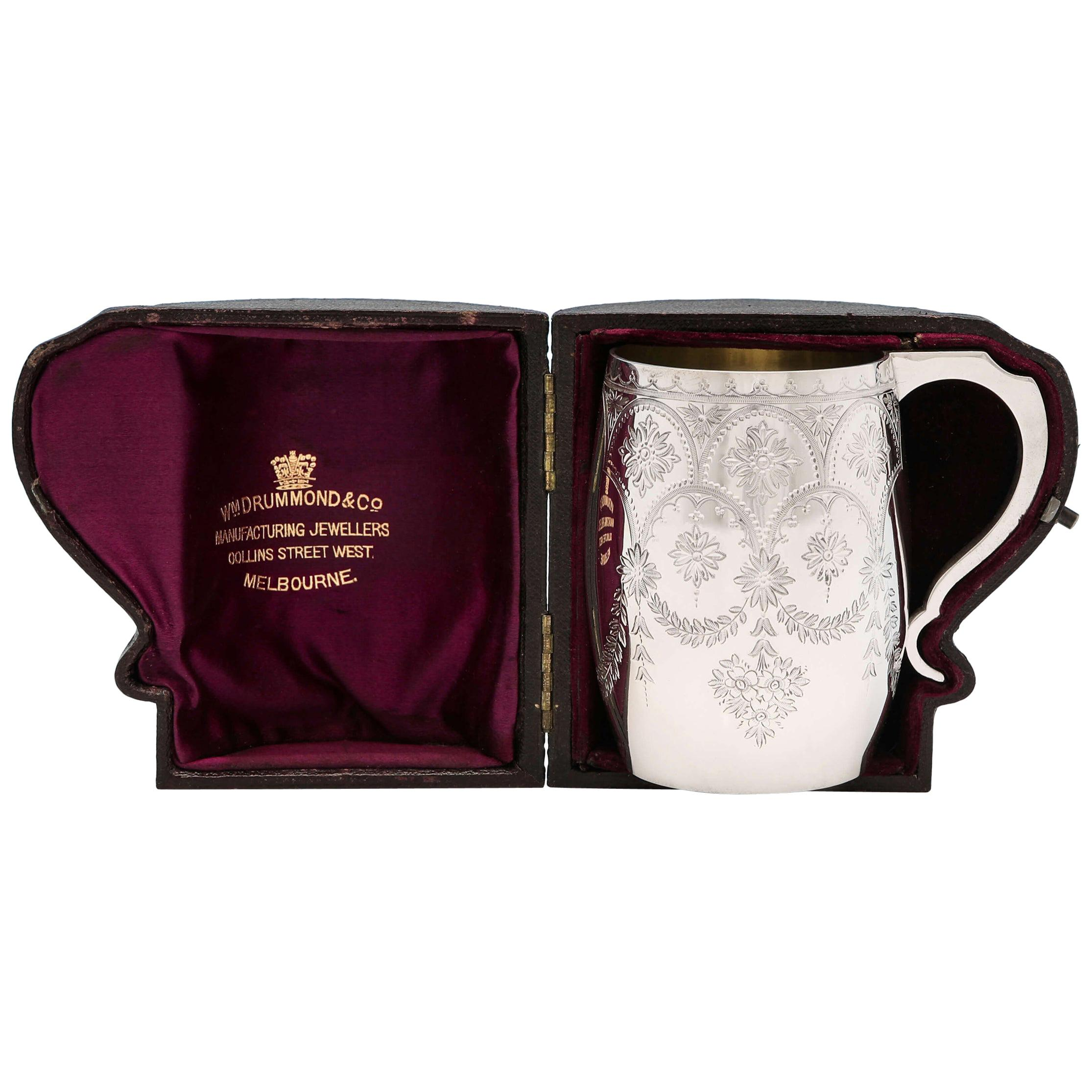 Victorian Sterling Silver Christening Mug by Barnards in Original Box, 1885
