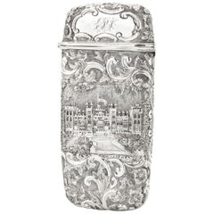 Victorian Sterling Silver Cigarette / Card Case, Depicting Windsor Castle