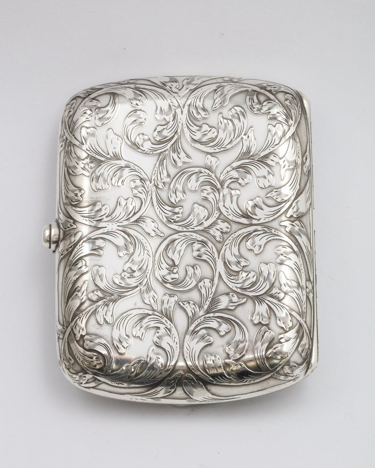 Victorian Sterling Silver Cigarette Case with Lion Motif by Schofield For Sale 3