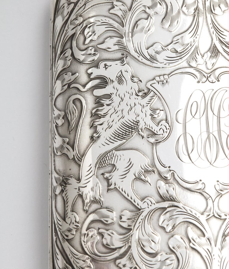 Victorian Sterling Silver Cigarette Case with Lion Motif by Schofield For Sale 5