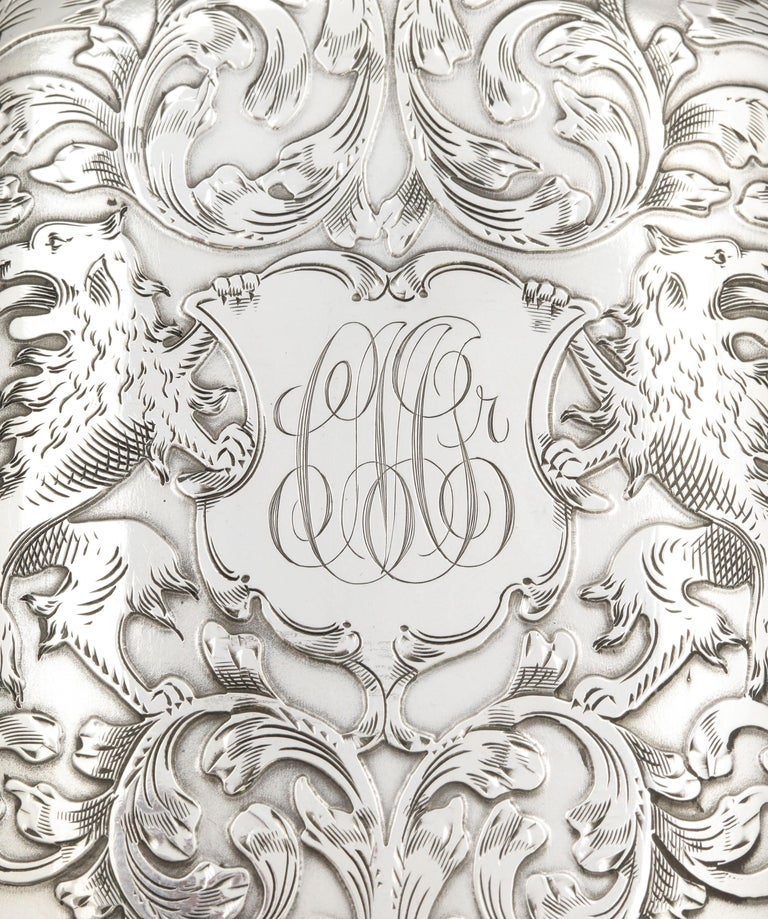 Victorian Sterling Silver Cigarette Case with Lion Motif by Schofield For Sale 7