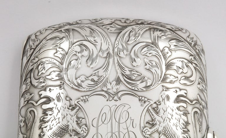 Victorian Sterling Silver Cigarette Case with Lion Motif by Schofield For Sale 8