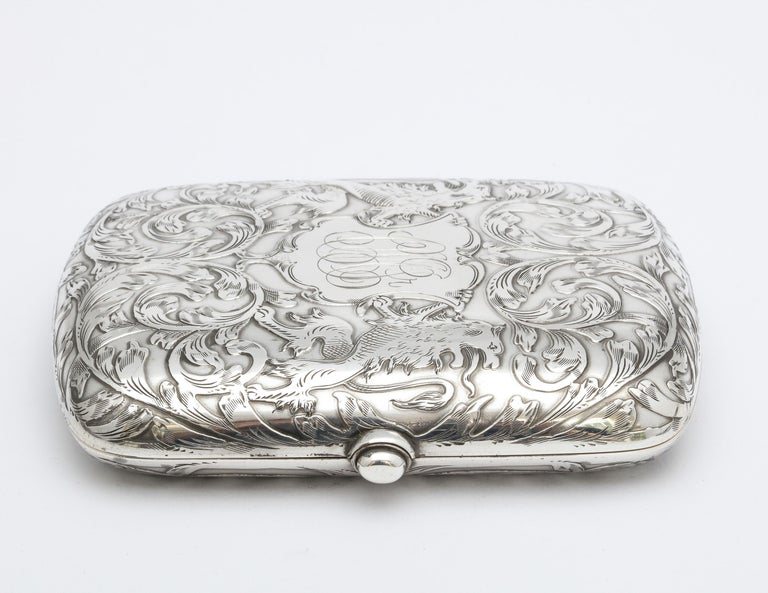 American Victorian Sterling Silver Cigarette Case with Lion Motif by Schofield For Sale