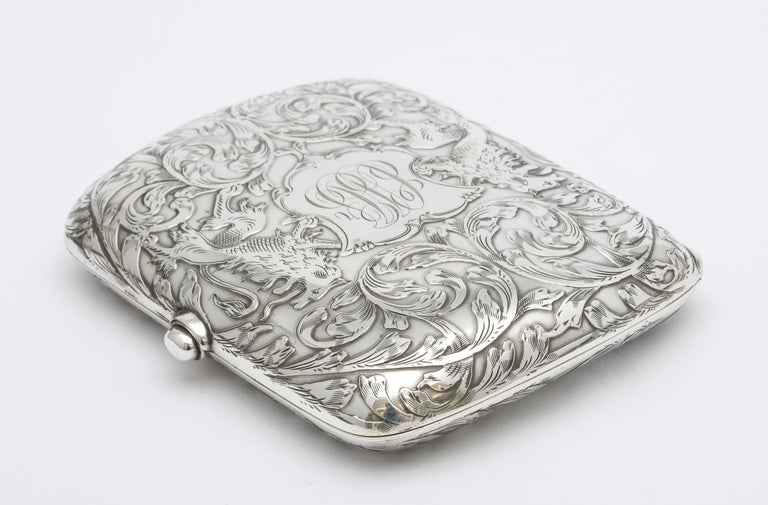 Gilt Victorian Sterling Silver Cigarette Case with Lion Motif by Schofield For Sale