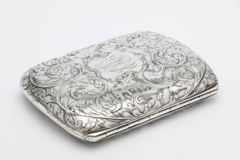 Victorian Sterling Silver Cigarette Case with Lion Motif by Schofield In Good Condition For Sale In New York, NY