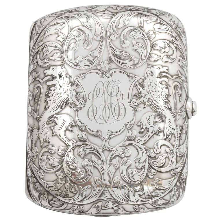 Victorian Sterling Silver Cigarette Case with Lion Motif by Schofield For Sale